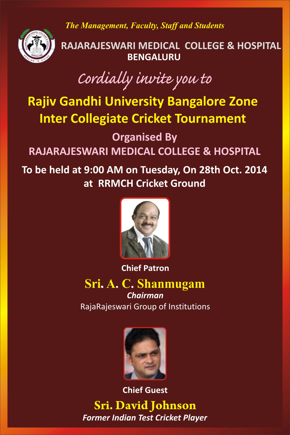 Invitation For Corporate Cricket Tournament: Inter Collegiate Cricket Tournament